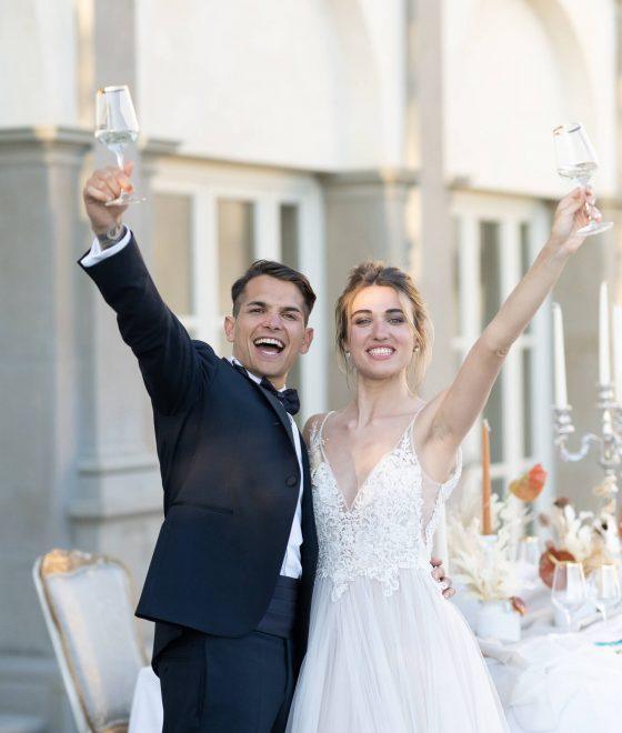 Matrimonio in Toscana: brindisi degli sposi